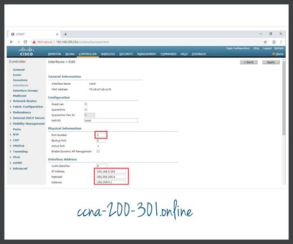 Configure port and interface address